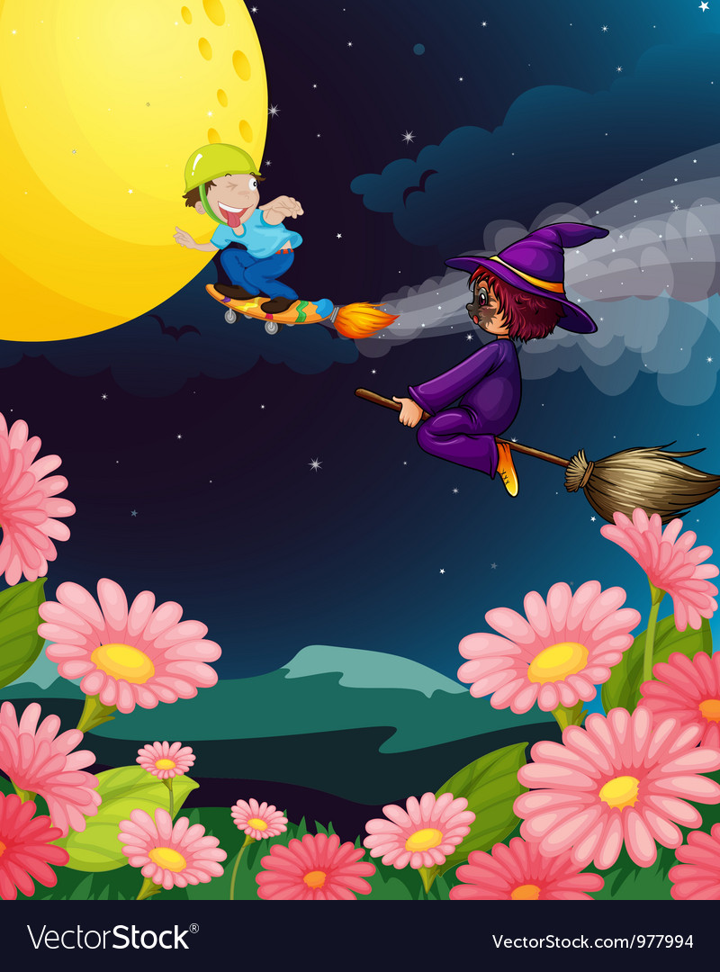 A boy and witch flying vector | Price: 3 Credit (USD $3)