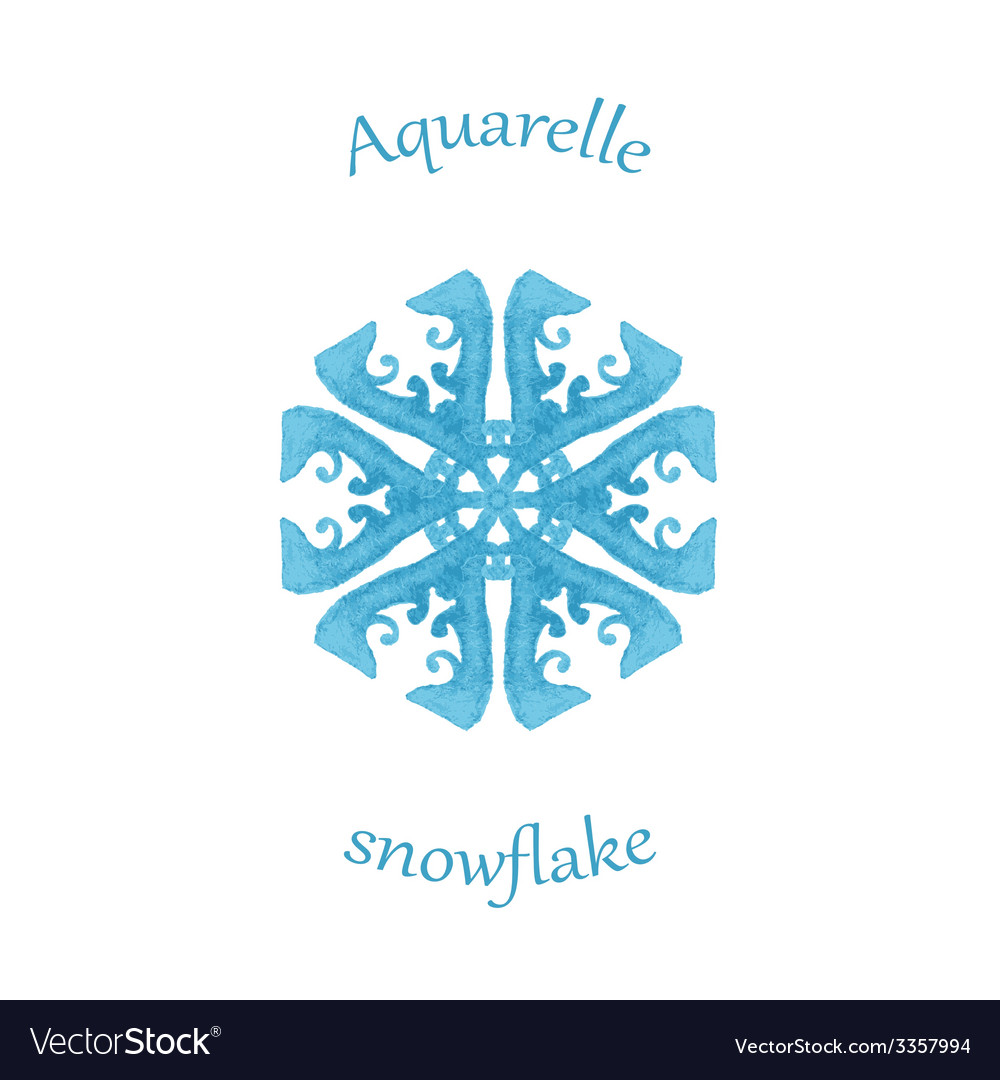 Aquarelle snowflake hand drawn watercolor winter vector | Price: 1 Credit (USD $1)