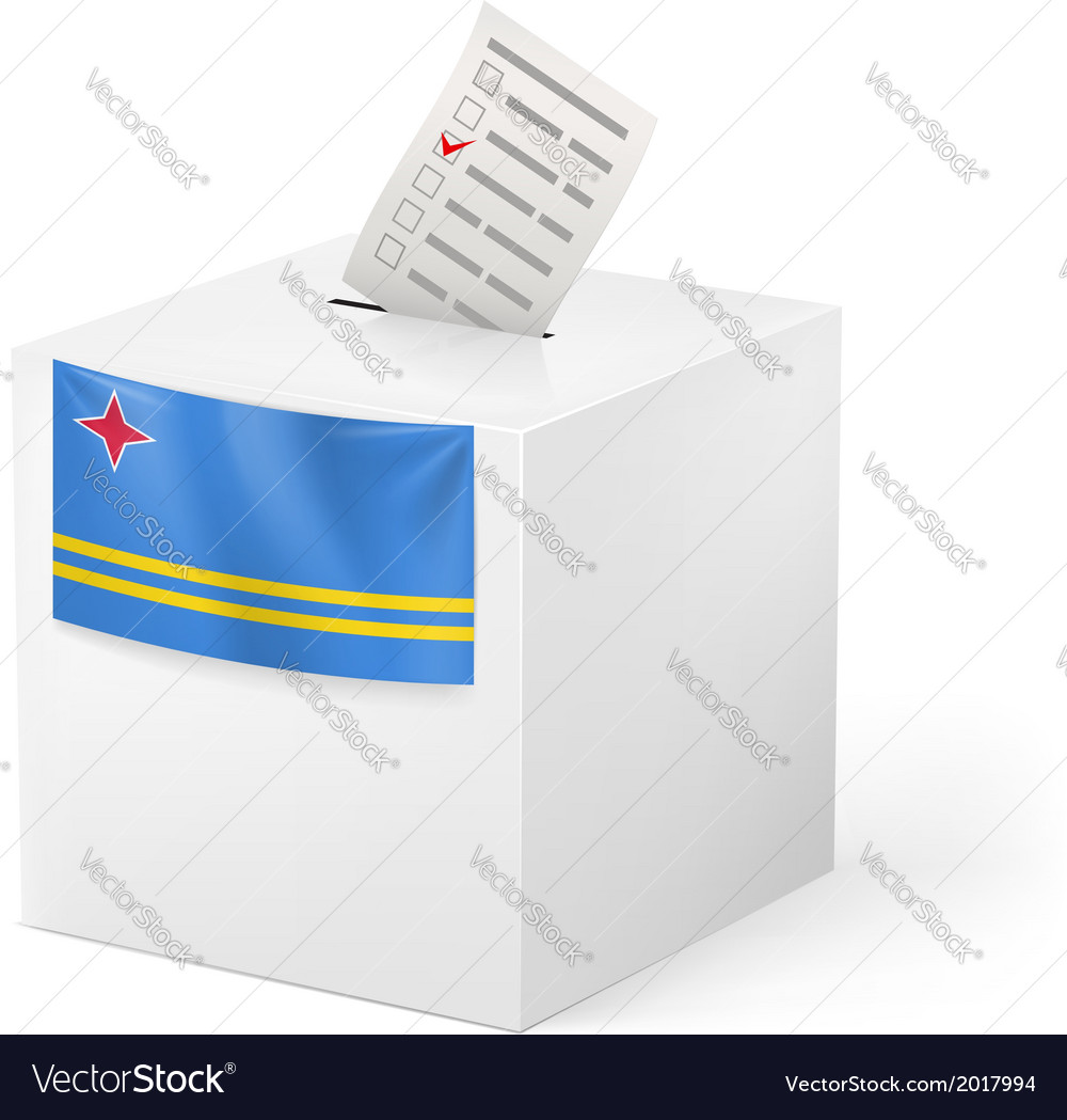 Ballot box with voting paper aruba vector | Price: 1 Credit (USD $1)