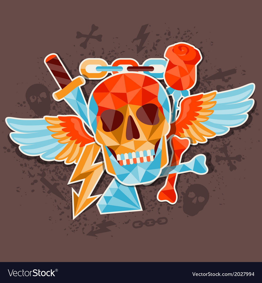 Card with colored geometric skull vector | Price: 1 Credit (USD $1)