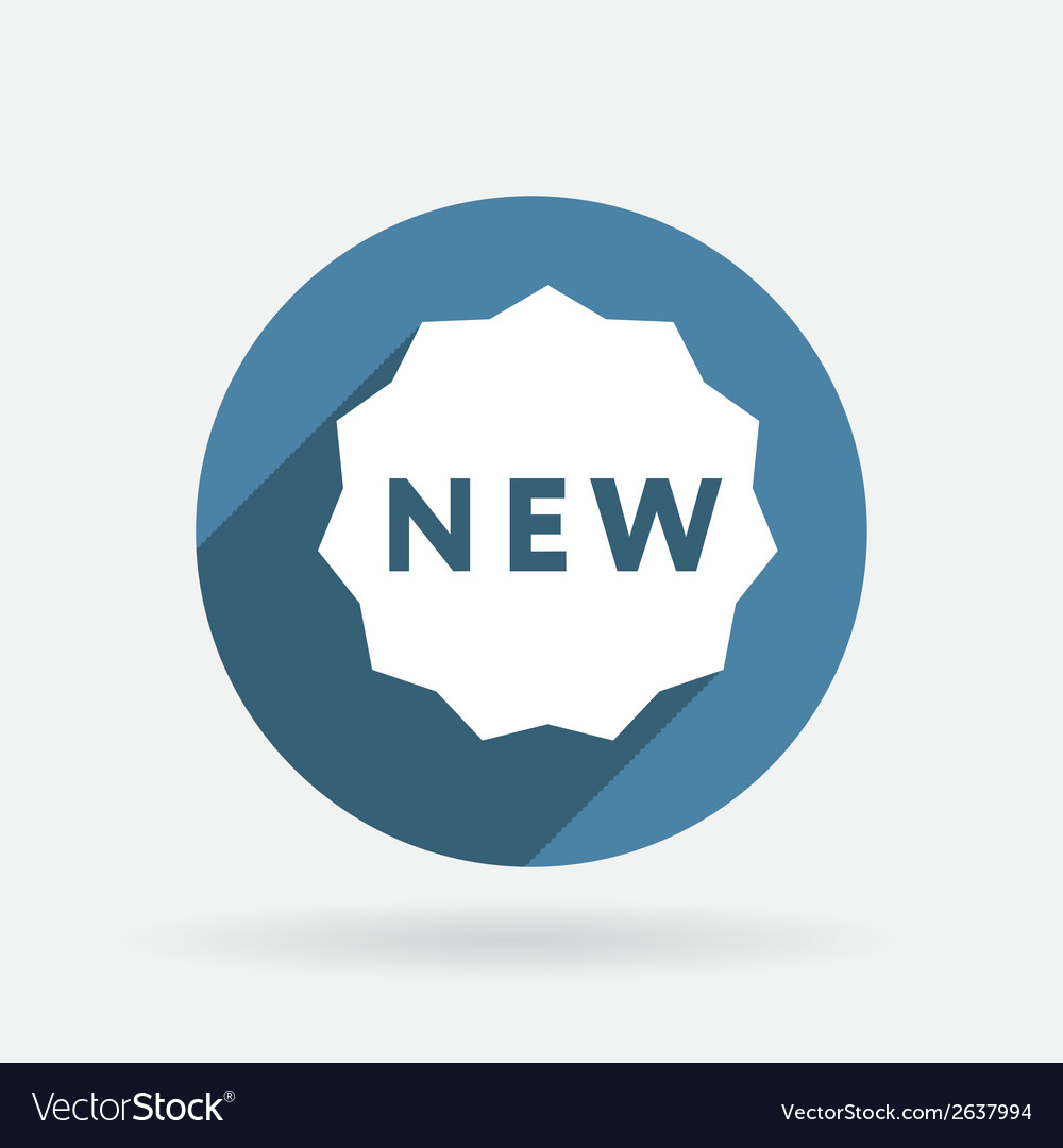 Label new circle blue icon with shadow vector | Price: 1 Credit (USD $1)
