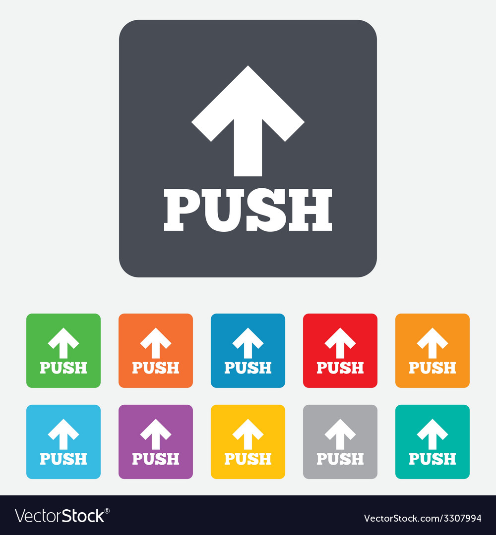 Push sign icon press arrow symbol vector | Price: 1 Credit (USD $1)