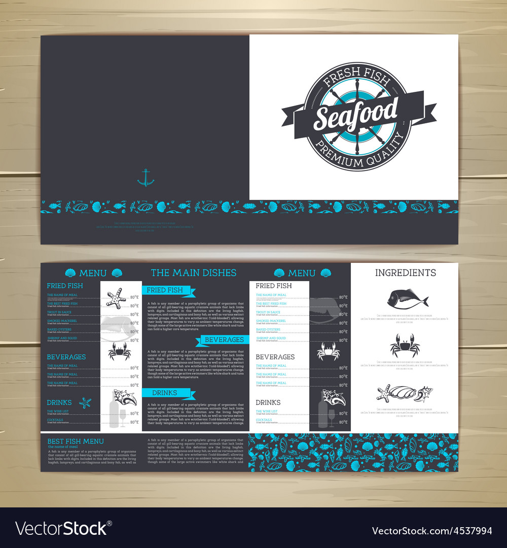 Seafood cafe menu design document template vector | Price: 1 Credit (USD $1)
