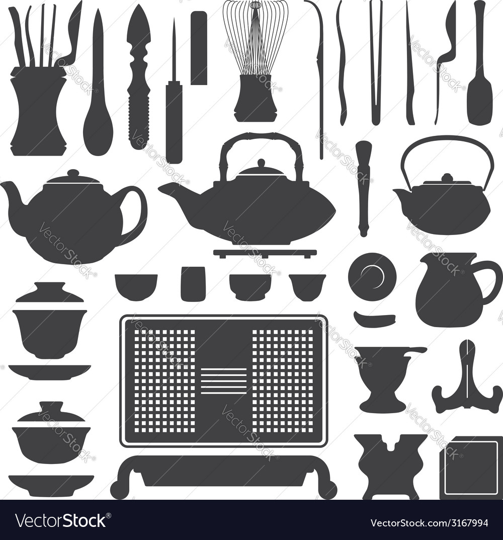 Tea ceremony equipment silhouette set vector | Price: 1 Credit (USD $1)