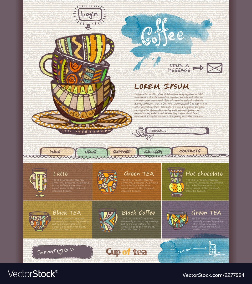 Web site design template decorative cup of coffee vector | Price: 1 Credit (USD $1)
