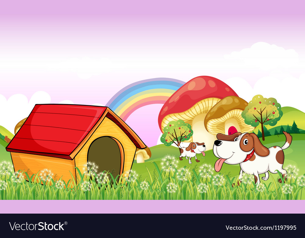 A doghouse near the weeds vector | Price: 1 Credit (USD $1)