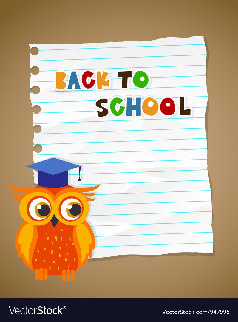 Back to school on wrinkled lined paper and owl eps vector | Price: 3 Credit (USD $3)