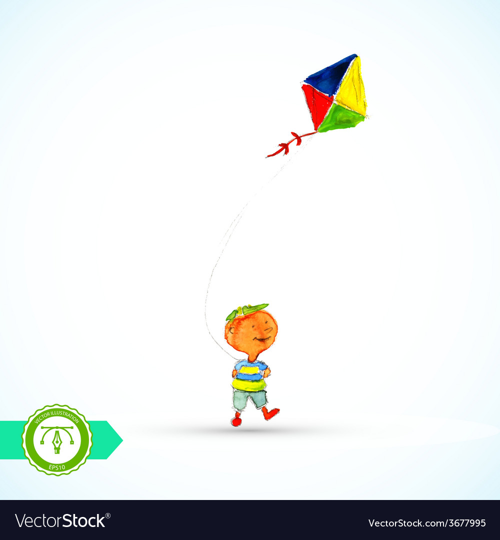 Boy with kite watercolor vector | Price: 1 Credit (USD $1)