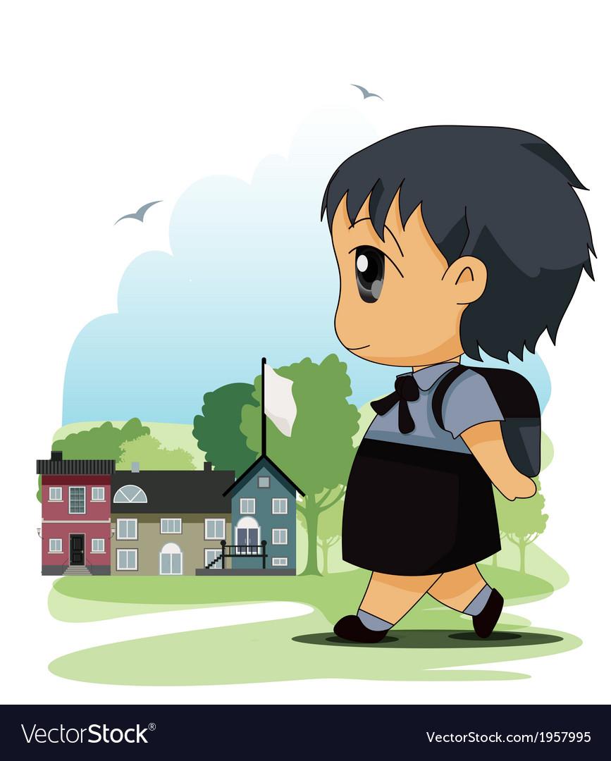 Children to school vector | Price: 1 Credit (USD $1)