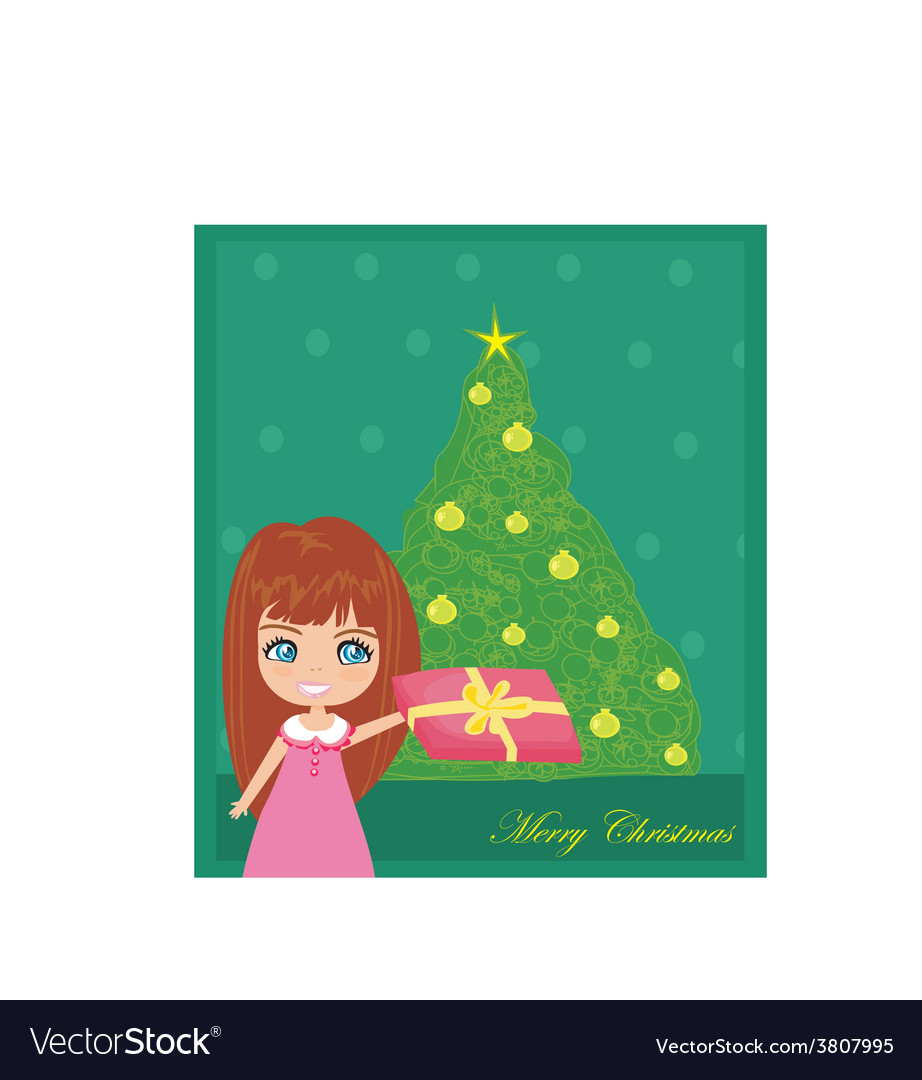 Cute girl with gift box near by christmas tree vector | Price: 1 Credit (USD $1)