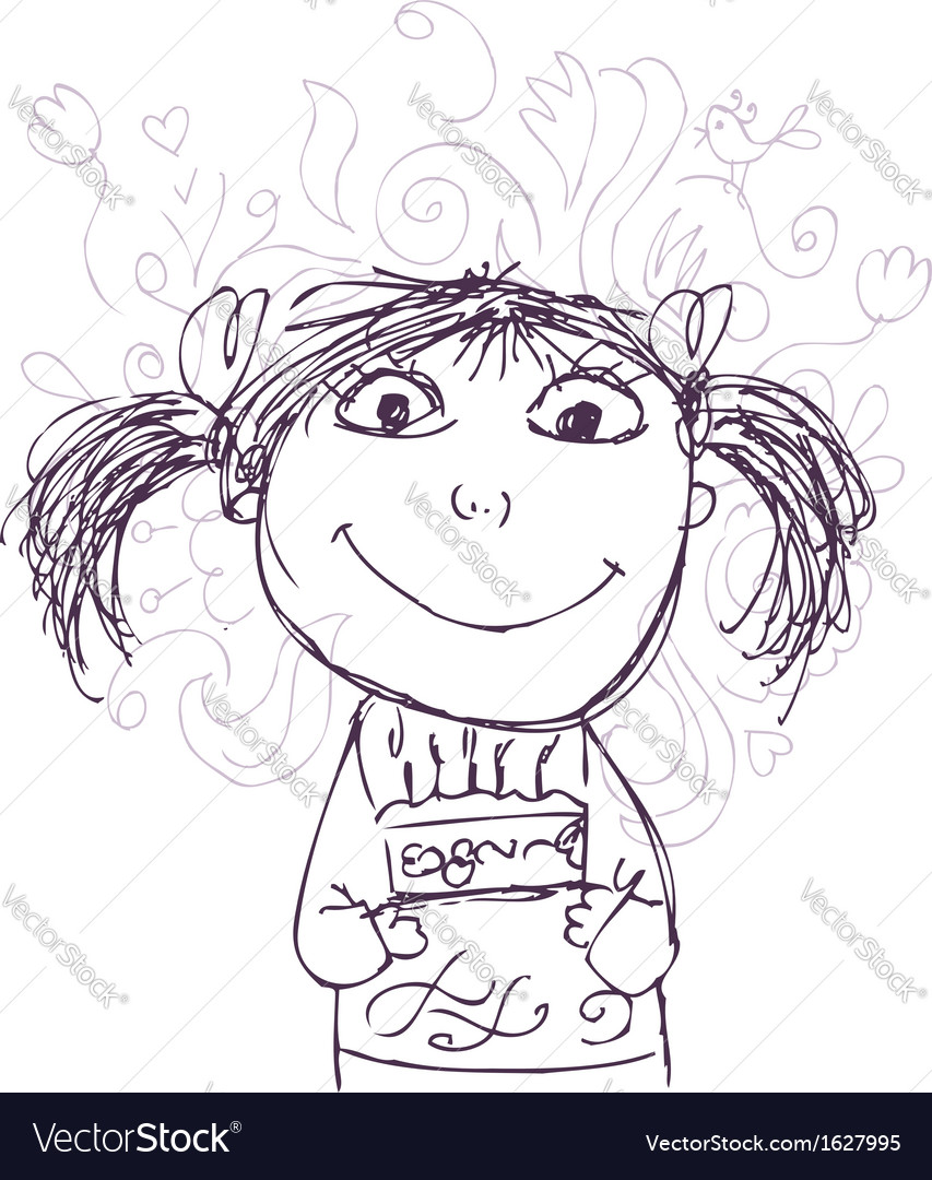 Funny girl sketch with birthday cake for your vector | Price: 1 Credit (USD $1)