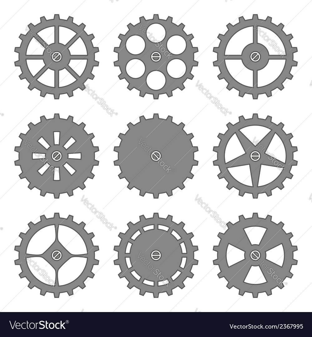 Gears and cogs set vector | Price: 1 Credit (USD $1)