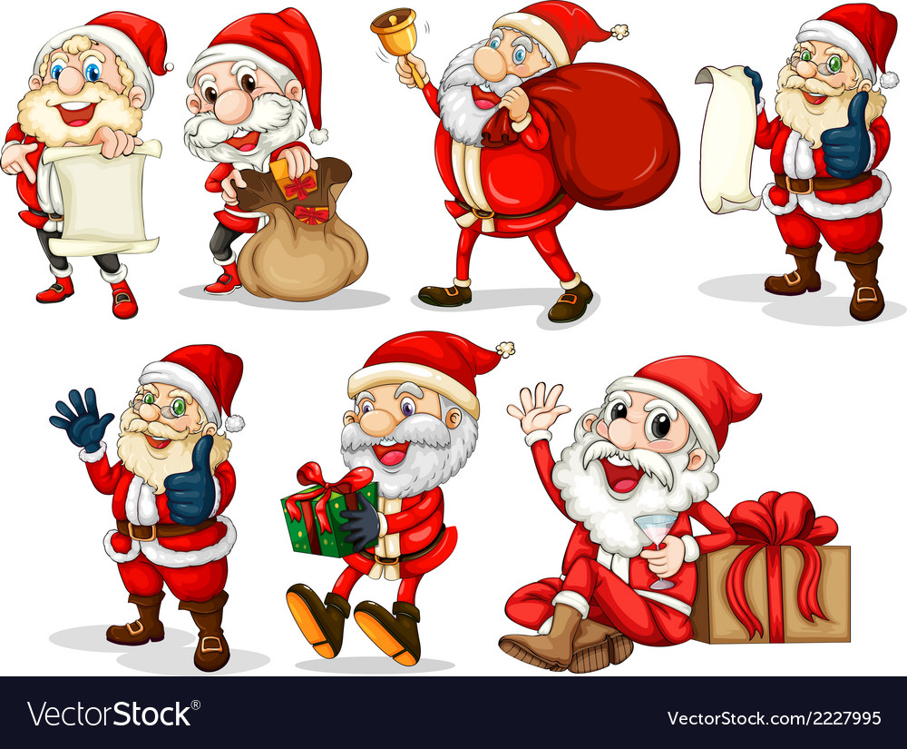 Happy santas vector | Price: 1 Credit (USD $1)