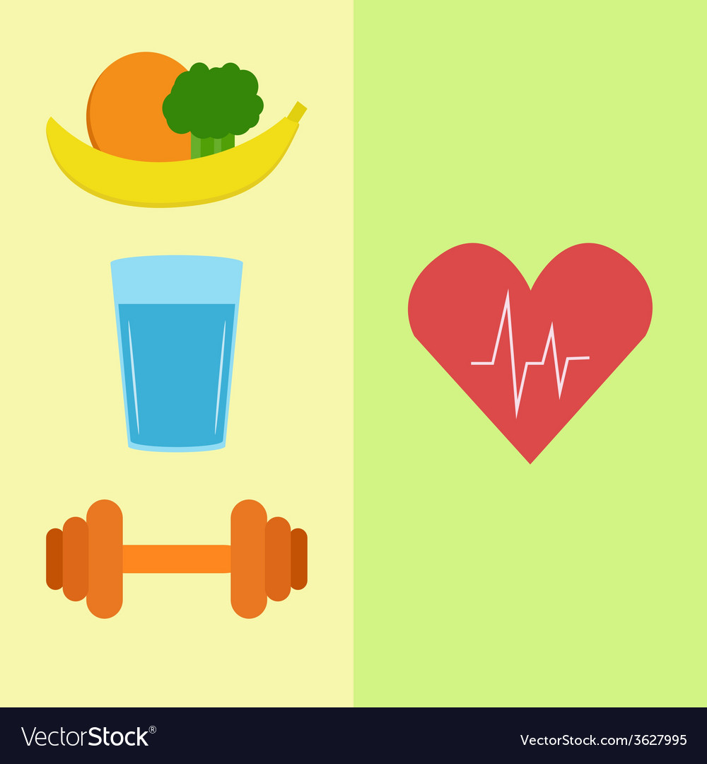Healthy food water and sport vector | Price: 1 Credit (USD $1)