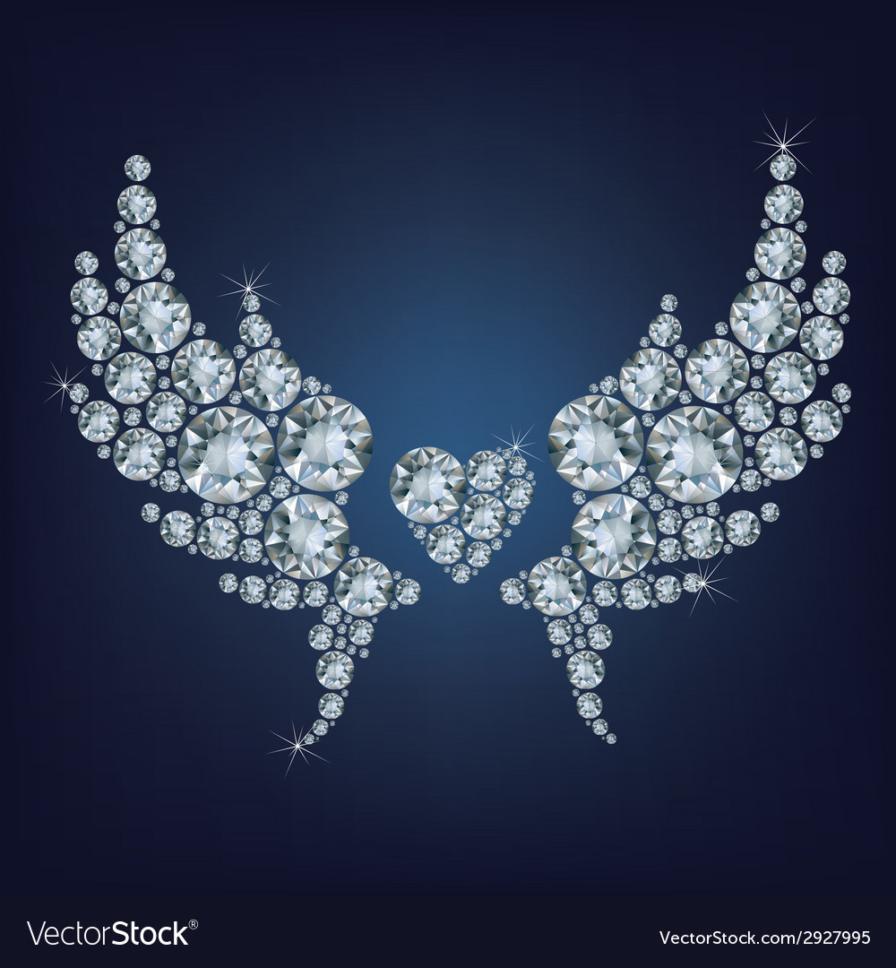 Heart with wings made a lot of diamonds vector | Price: 1 Credit (USD $1)