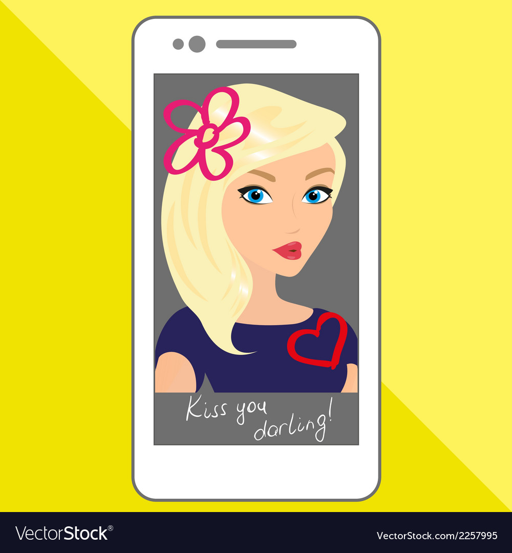 Selfie of blondhair girl with hand drawings vector   Price: 1 Credit (USD $1)