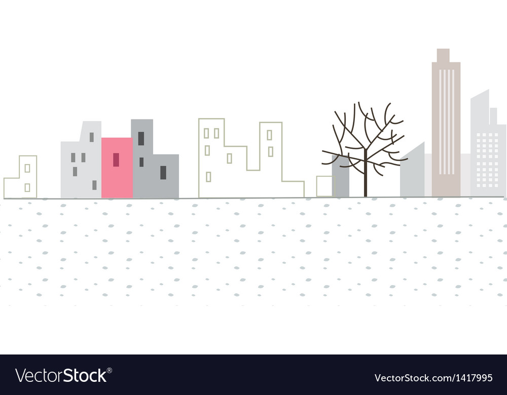 Stylized city scene vector | Price: 1 Credit (USD $1)