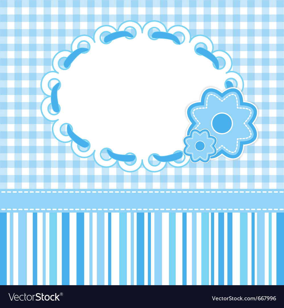 Baby card with blue stripes and flowers vector | Price: 1 Credit (USD $1)