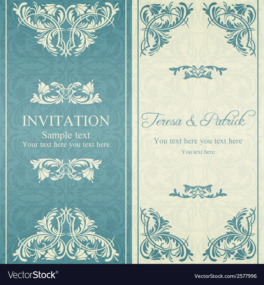 Baroque invitation blue and beige vector | Price: 1 Credit (USD $1)
