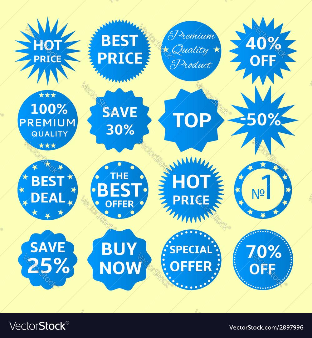 Blue seals-stickers set vector | Price: 1 Credit (USD $1)