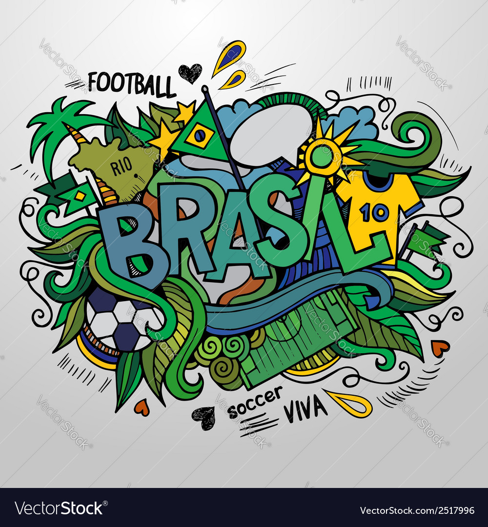 Brazil summer and doodles elements vector | Price: 1 Credit (USD $1)