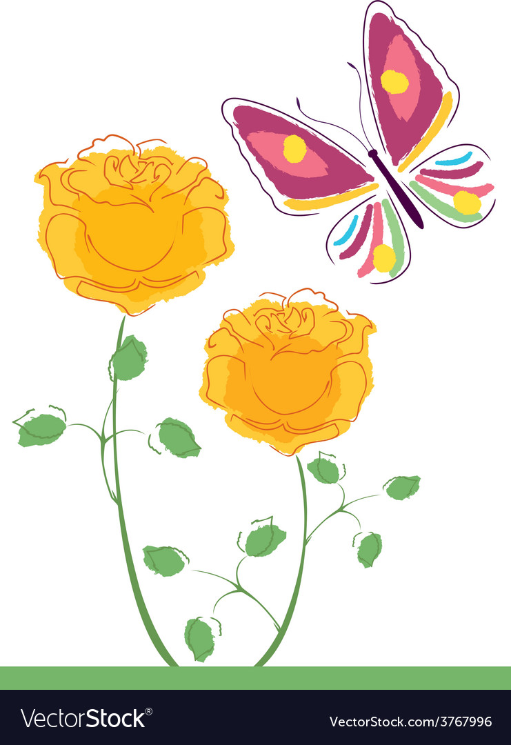 Butterflies and flowers 7 vector | Price: 1 Credit (USD $1)