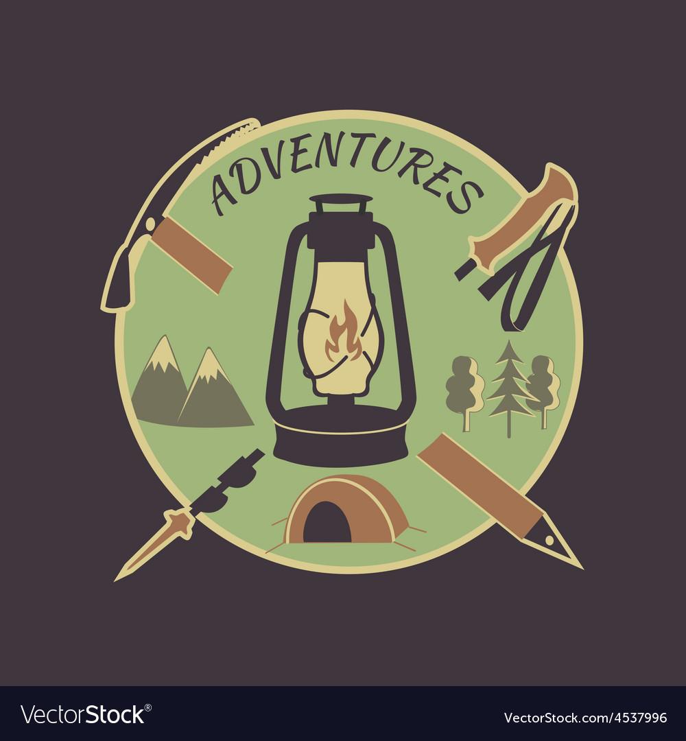 Colored vintage adventure label vector | Price: 1 Credit (USD $1)