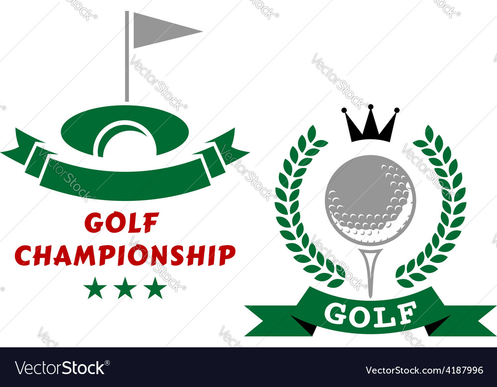Golfing championship emblems or badges vector | Price: 1 Credit (USD $1)