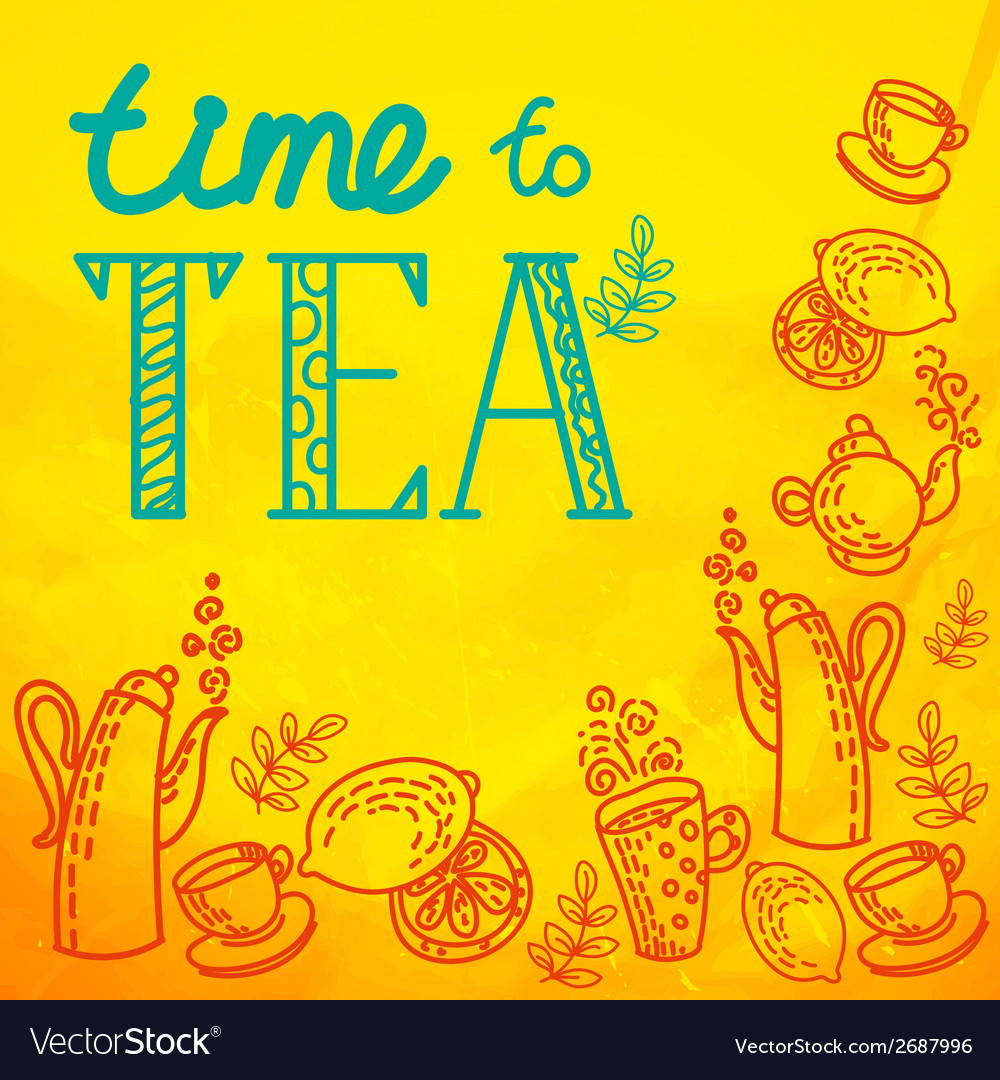 Icon set with tea in flat style vector   Price: 1 Credit (USD $1)