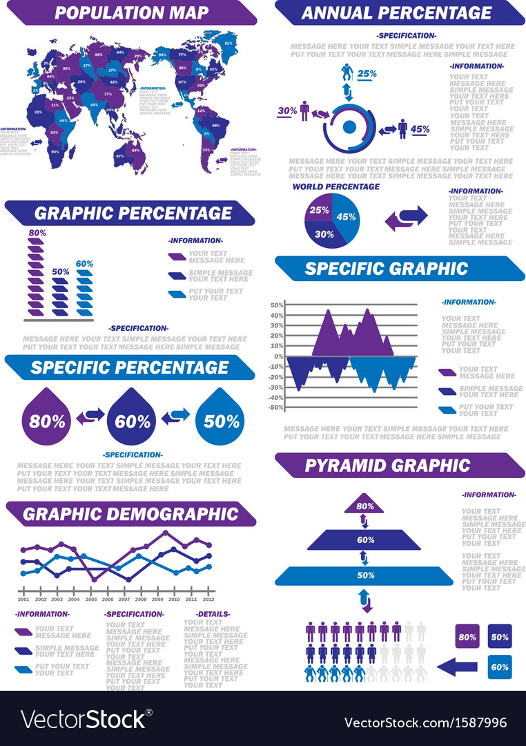 Infographic demographic elements new purple vector | Price: 1 Credit (USD $1)