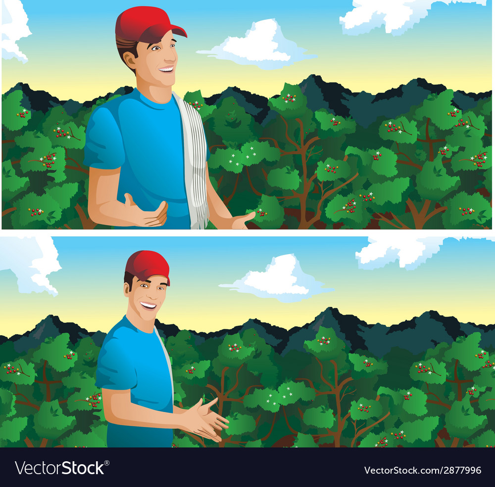 Man talking in coffee field vector | Price: 1 Credit (USD $1)