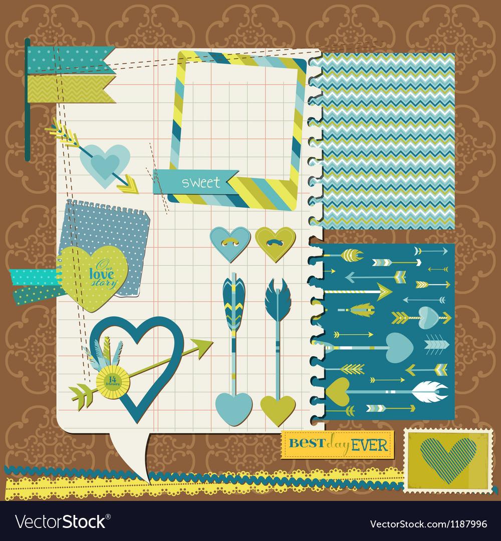 Scrapbook design elements - love heart and arrows vector | Price: 1 Credit (USD $1)