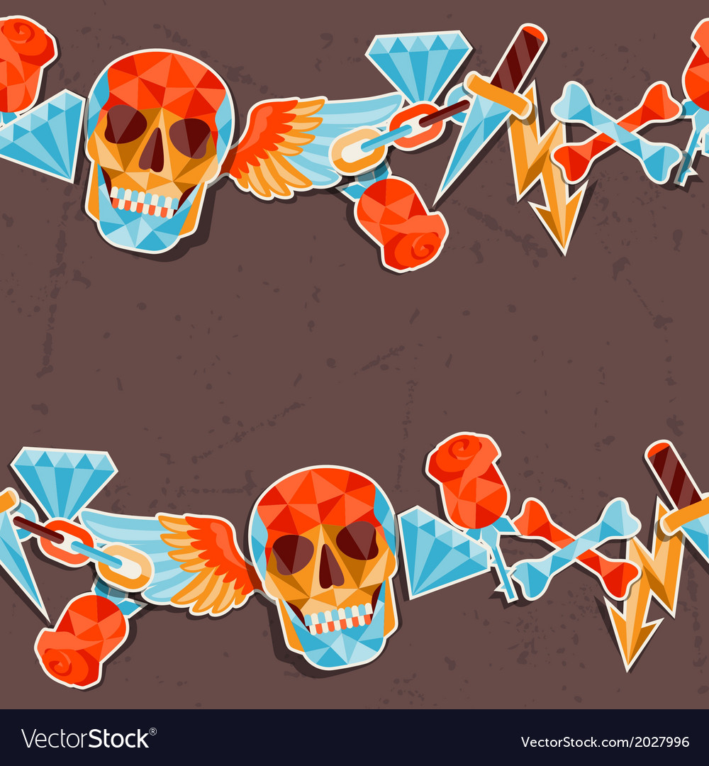 Seamless background with skull and elements vector | Price: 1 Credit (USD $1)