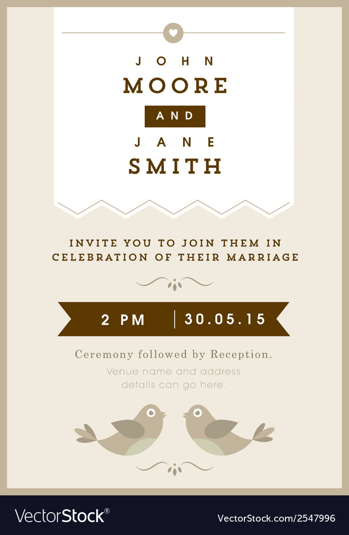 Wedding invitation gold love bird theme vector | Price: 1 Credit (USD $1)