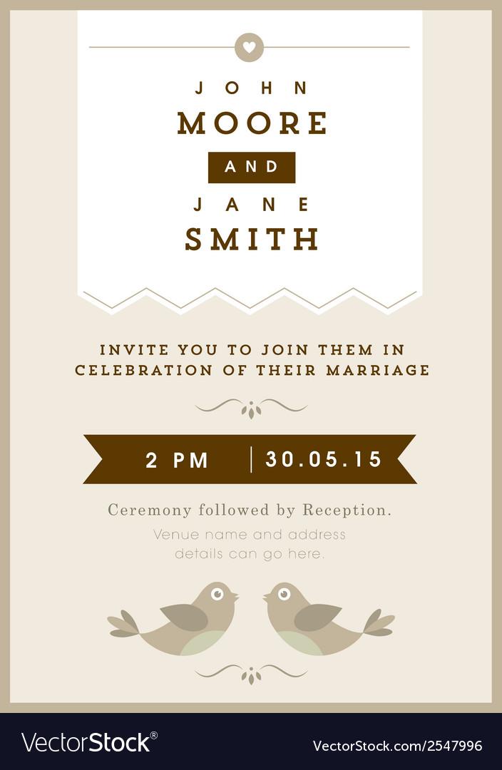 Wedding invitation gold love bird theme vector