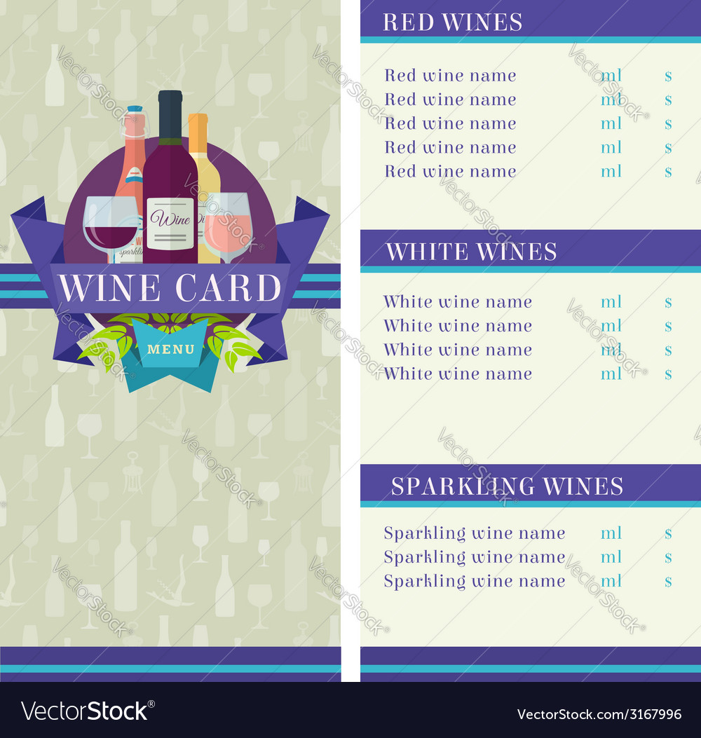 Wine card template vector | Price: 1 Credit (USD $1)