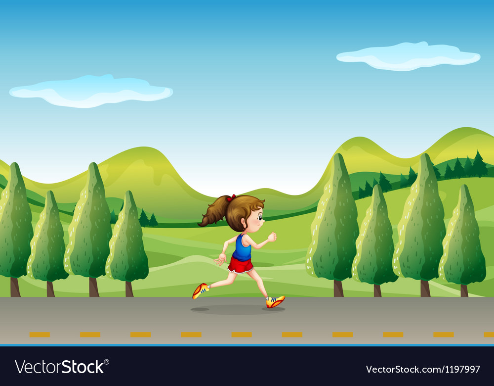 A girl jogging at the street with trees vector   Price: 1 Credit (USD $1)