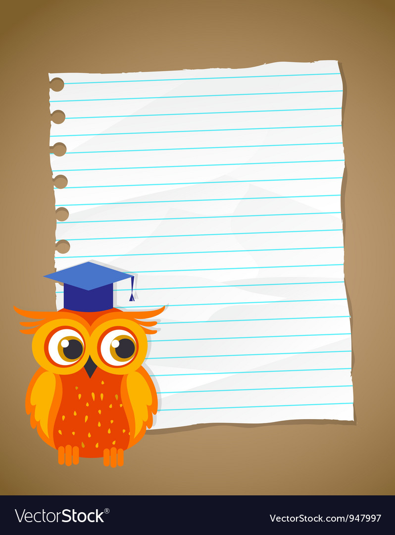 Back to school on wrinkled lined paper and owl vector | Price: 3 Credit (USD $3)