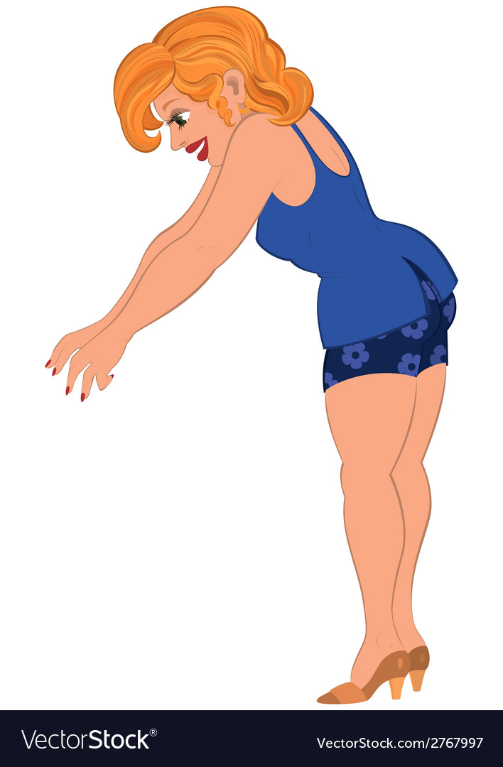 Cartoon woman in blue outfit trying to grab vector | Price: 1 Credit (USD $1)