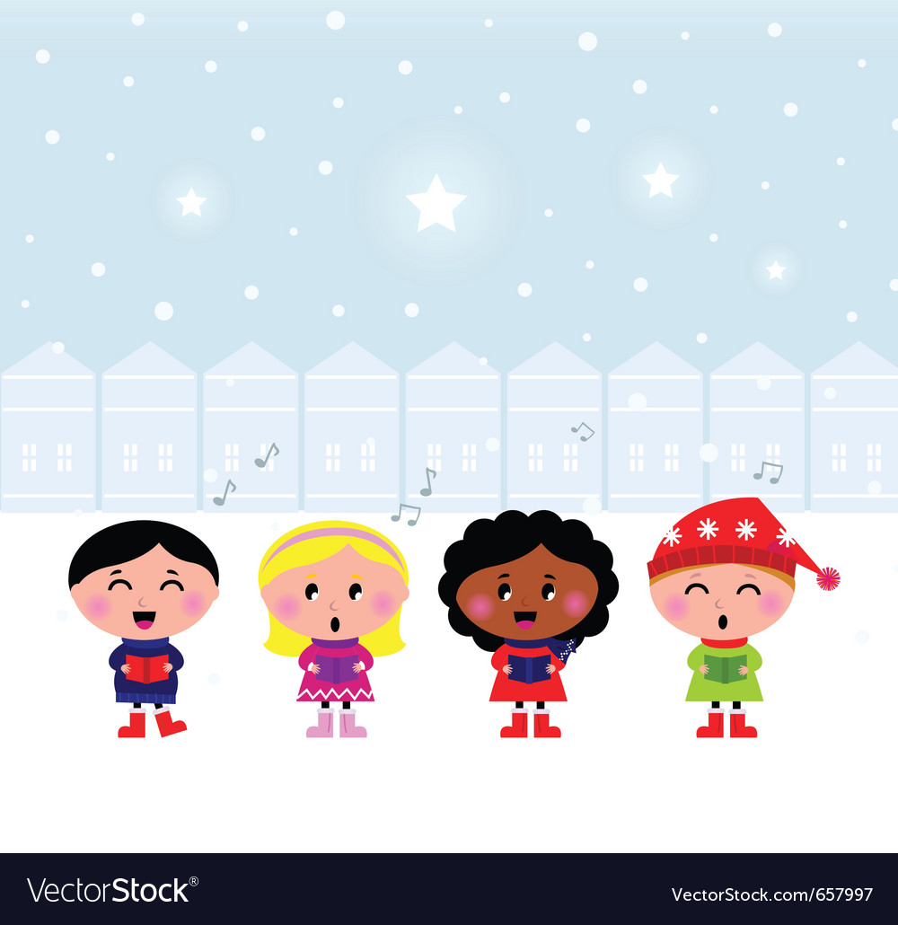 Christmas carroling children vector | Price: 1 Credit (USD $1)