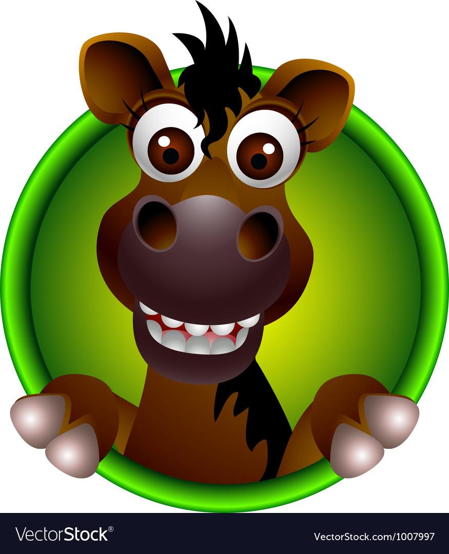 Cute horse head cartoon vector | Price: 3 Credit (USD $3)