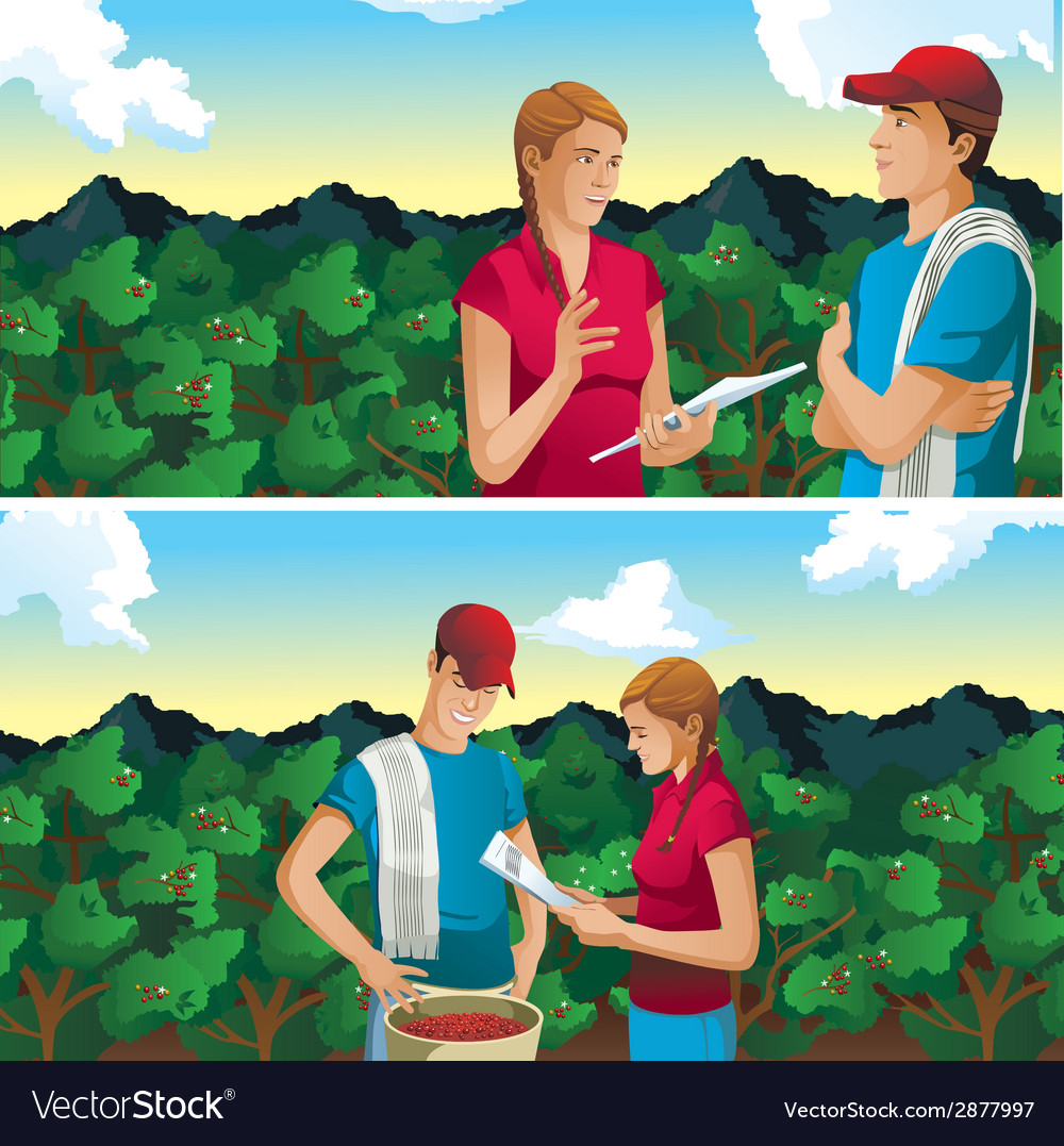 Farmer man and woman in coffee field mountains vector | Price: 3 Credit (USD $3)