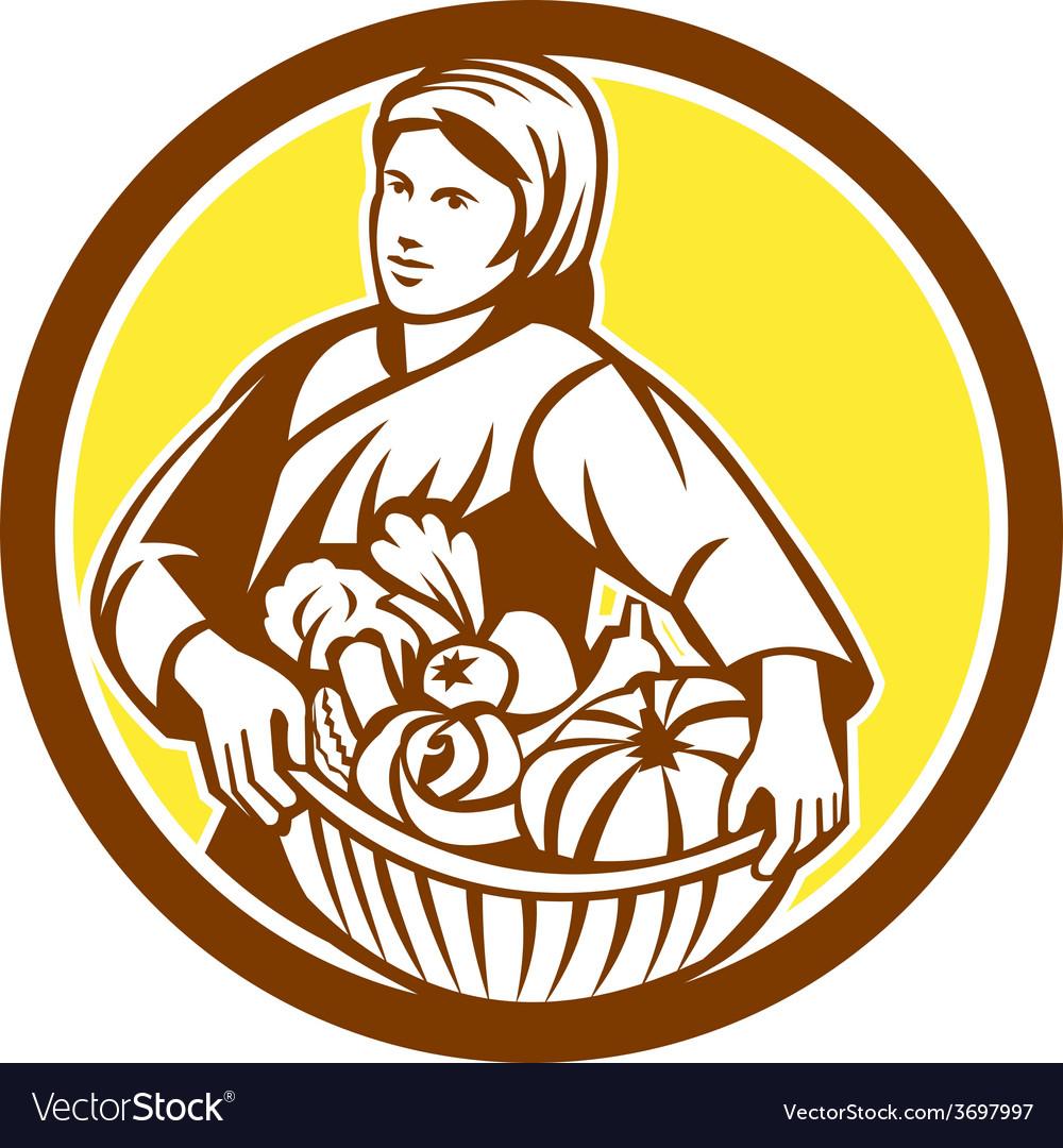 Female organic farmer basket harvest retro vector   Price: 1 Credit (USD $1)