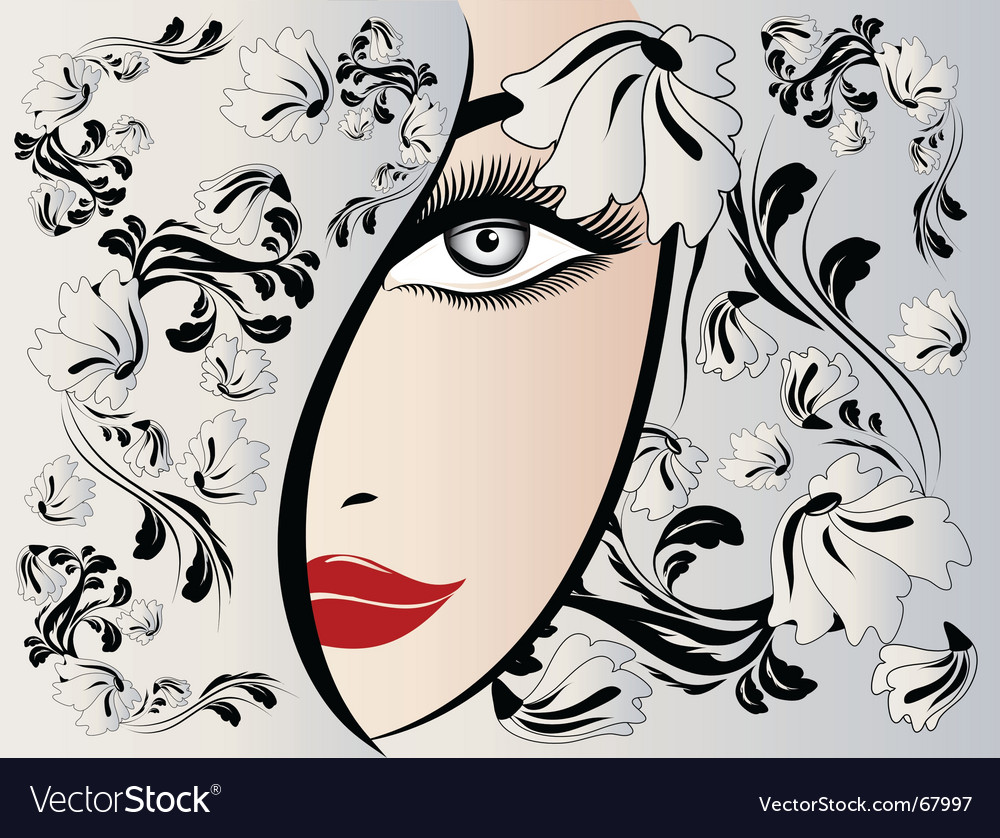 Floral woman vector | Price: 1 Credit (USD $1)