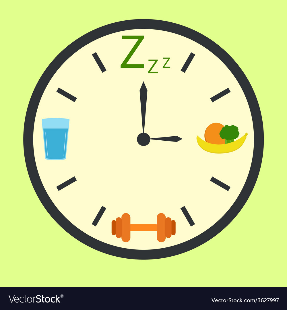 Healthy life concept with clock vector | Price: 1 Credit (USD $1)