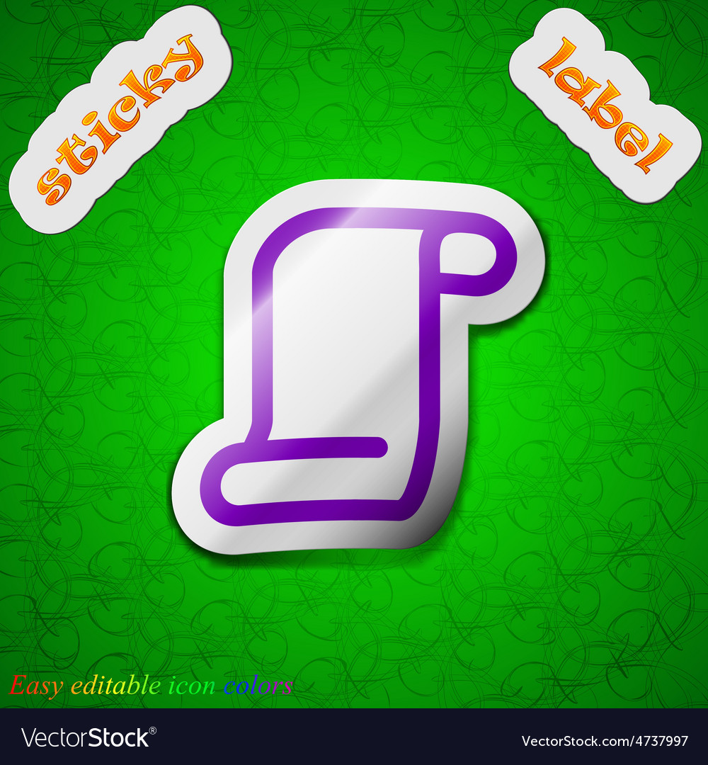 Paper scroll icon sign symbol chic colored sticky vector   Price: 1 Credit (USD $1)
