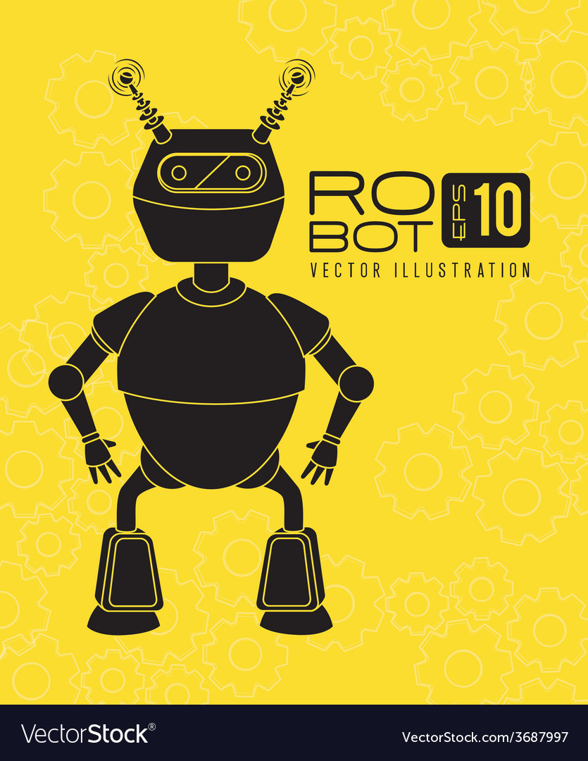 Robot design over yellow background vector | Price: 1 Credit (USD $1)