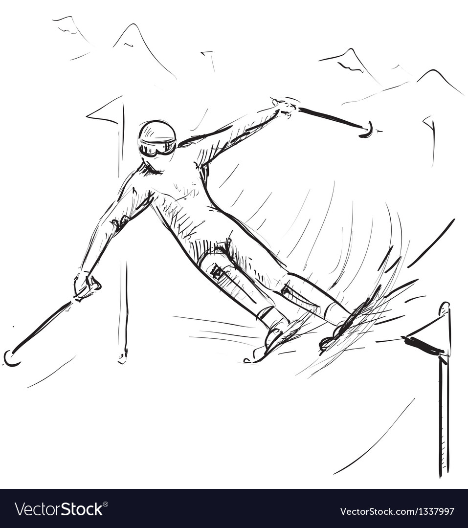 Skiing man on competitions vector | Price: 1 Credit (USD $1)