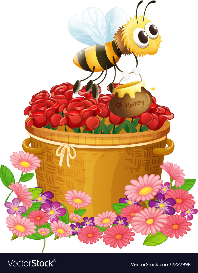 A basket of red roses and a bee with a pot of vector | Price: 1 Credit (USD $1)