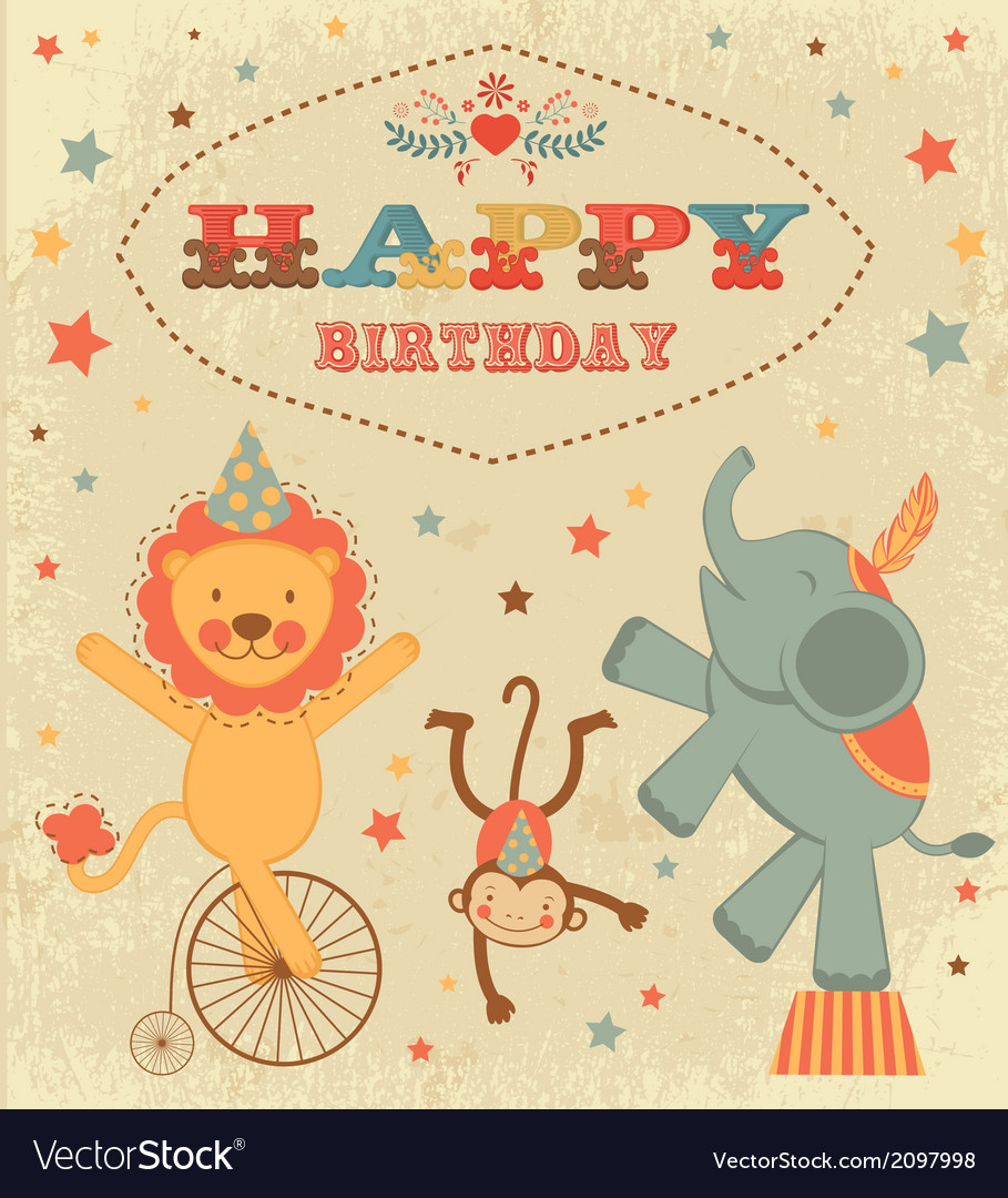 Birthday card with circus animals vector | Price: 1 Credit (USD $1)